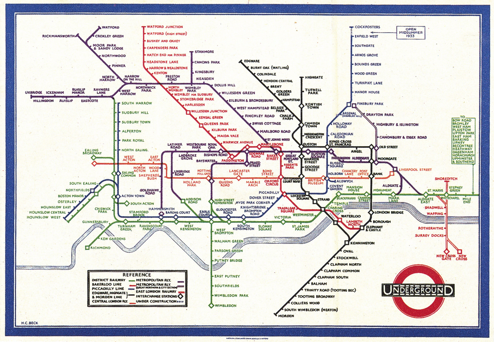 2 henry charles beck tube map january 1933 color lithograph first edition 90 x 63 in printed at waterlow sons ltd london dunstable watford