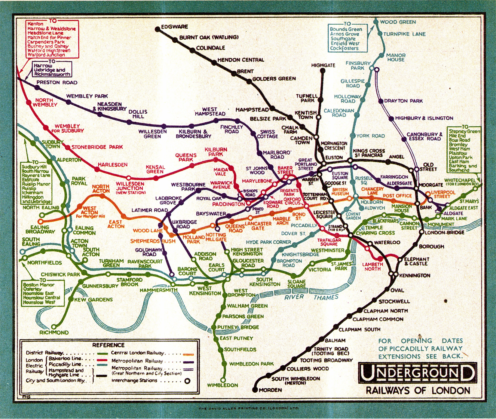 3 frederick h stingemore underground railways of london 1932 color lithograph 55 x 65 in printed by david allen printing co london