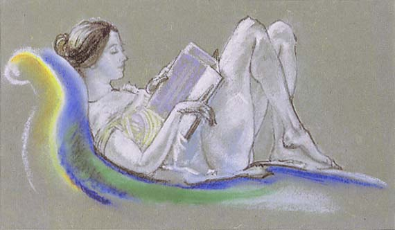 Figure 2. Arthur B. Davies, Reclining Woman, 1913. Pastel on gray Japanese paper. Alfred Stieglitz Collection, The Metropolitan Museum of Art.