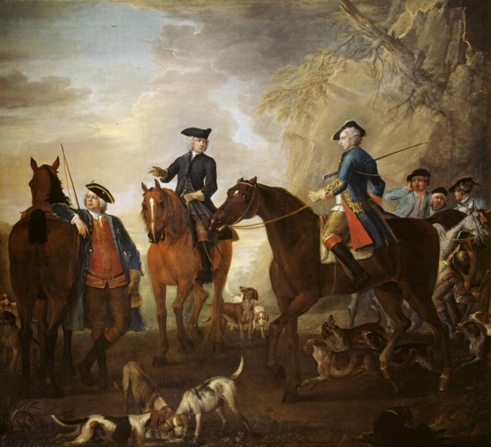 Viscount Weymouth's Hunt: Mr Jackson, the Hon. Henry Villiers and the Hon. Thomas Villiers, with Hunters and Hounds 1733-6 by John Wootton ?1682-1764