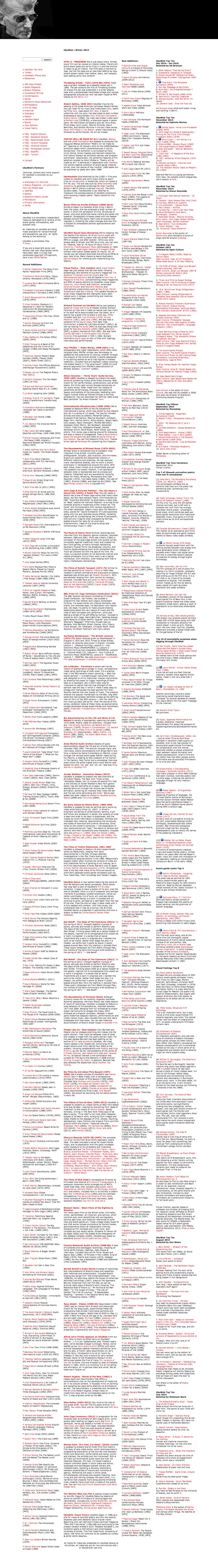 UbuWeb homepage screenshot, ca. 2013.