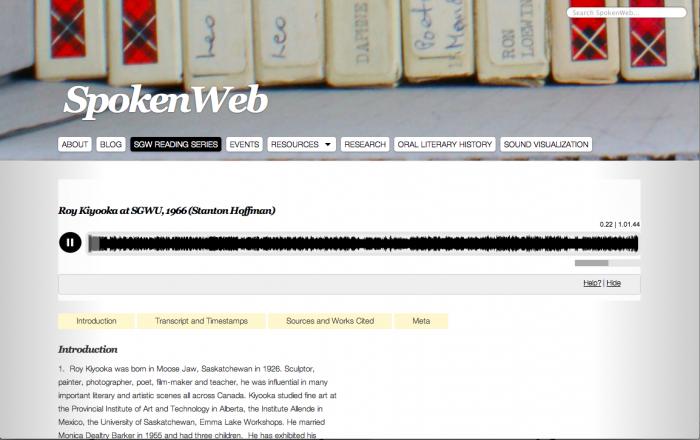 Screenshot of SpokenWeb Audio Player.