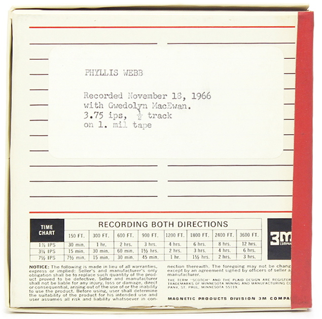 Image 1: Tape Box Phyllis Webb