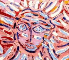 Image description: abstract painting of a face composed of long strokes of light and dark blue strokes on a pink background.