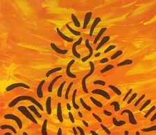 Image description: abstract painting composed of short black lines narrowing vertically upwards on an orange background.