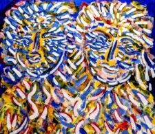 Image description: abstract painting of two faces composed with thick strokes of blue, yellow, green, and white paint.