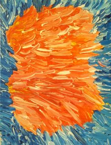 Image description: abstract painting with red and orange strokes in the centre with a blue background.