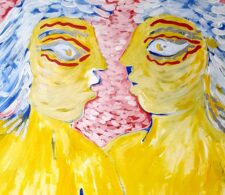 Image description: abstract painting of two stylised yellow faces in profile against red background dotted with off-white strokes of paint.