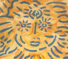 Image description: abstract painting of a face, composed of two blue circles with emanating strokes on a yellow and orange background.