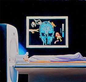 A drawing of a woman covered in a sheet entering an MRI machine. Above her is a picture of a brain scan alongside cartoonish figures.