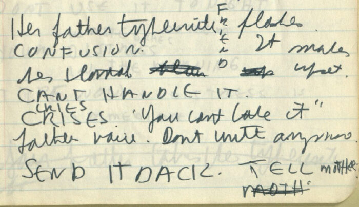 "Figure 2. Text reads ""Her father's typewriter F  flashes /   R / CONFUSION. I It makes / E / her stomach  N  upset / D / CAN'T HANDLE IT / CRIES / CRISES ""You can't take it"" / Father voice. Don't write anymore. / SEND IT BACK. TELL mother / MOTH"" (Moth is crossed out)."
